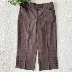 CAbi Glen brown plaid cropped wide leg pants 137